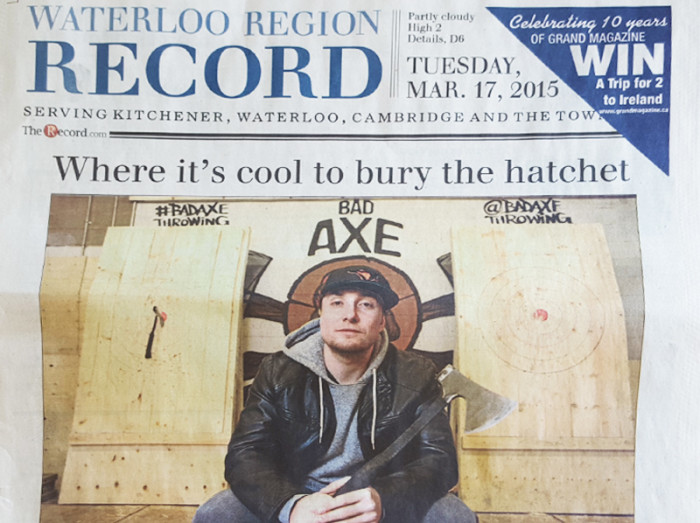 Bad Axe Throwing on Front Page of Newspaper
