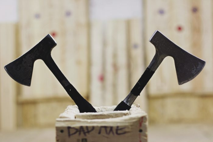 Axes being stored in box for safety