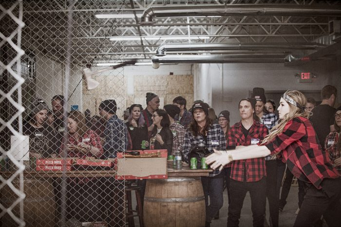 axe throwing during corporate event