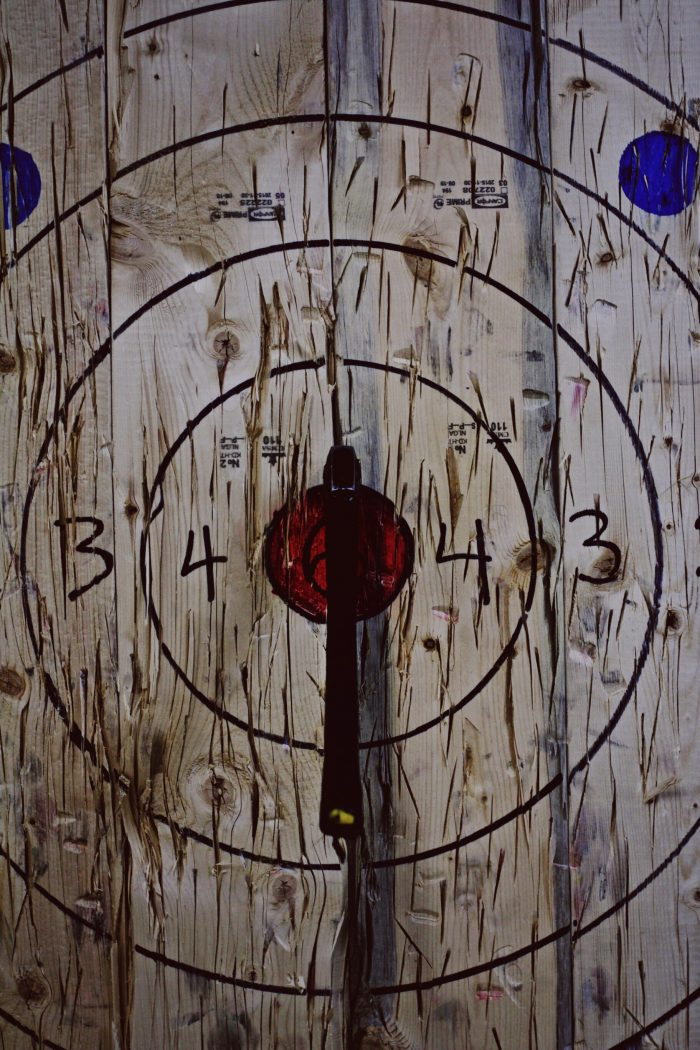 Axe throwing target with a bullseye throw