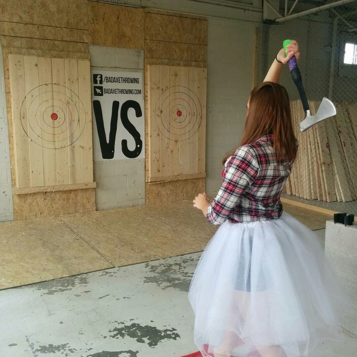 Bachelorette Party - Bride to be throwing an axe