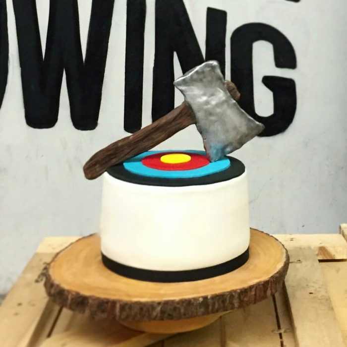 Edible Axe Throwing Birthday Cake
