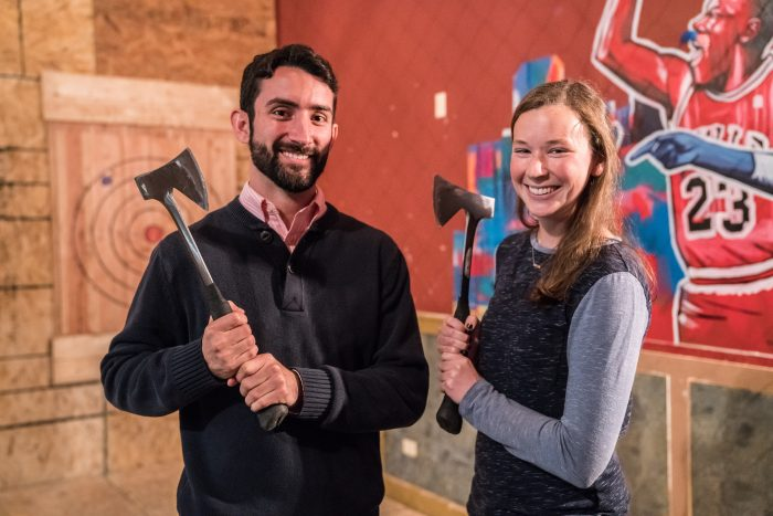 Axe throwing office party