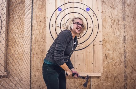 Relieve some stress with axe throwing