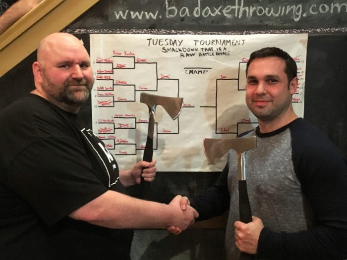 Members from Bad Axe Throwing League