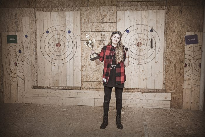 Axe Throwing Woman Champion