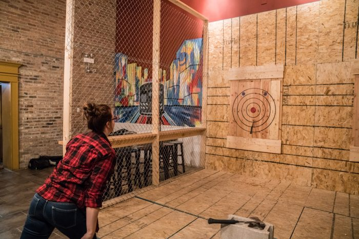 chill out with axe throwing