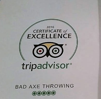 Tripadvisor rewards Bad Axe Throwing Toronto with Certificate