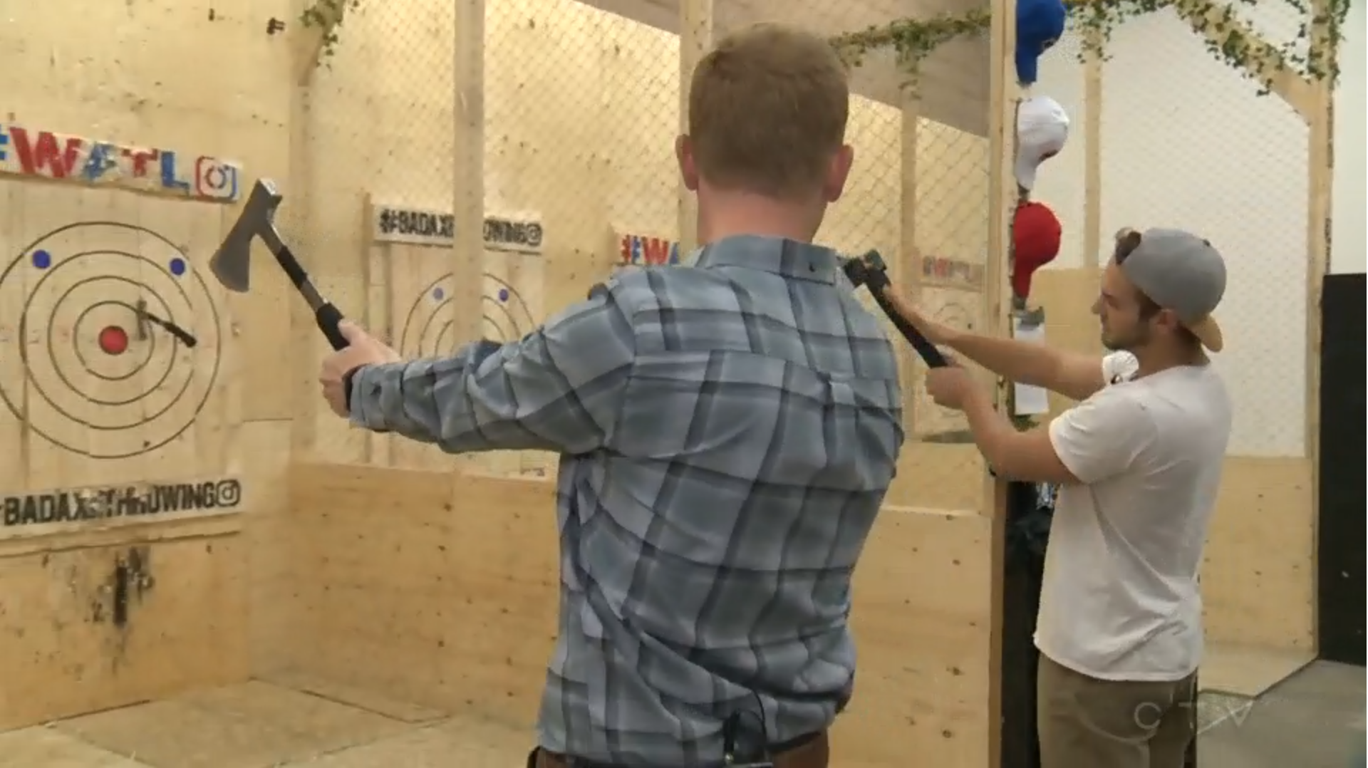 CTV's Marc learns to throw axes