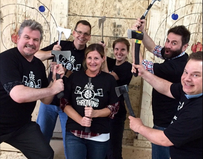 Colleagues at Bad Axe Throwing Toronto