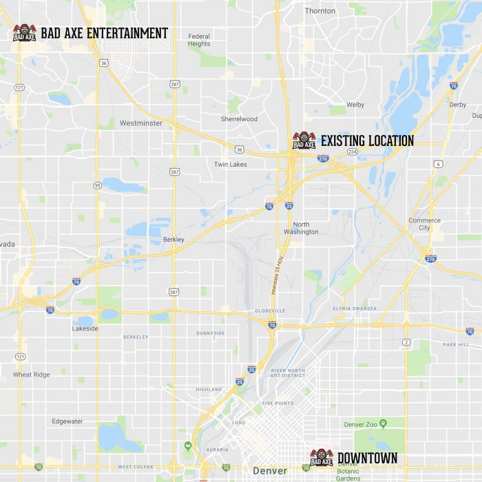 Bad Axe Throwing Denver Map